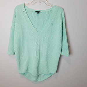 Express V-neck Mint Green Sweater 3/4 sleeves